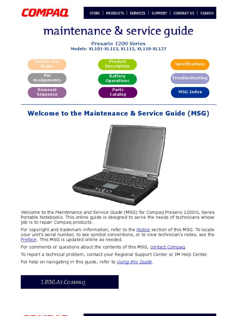 Service Manual Compaq Presario 1200Xl101 127 | Laptop | Personal Computers