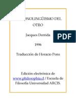 Derrida, J. - El monolingüismo del otro [1996]