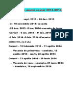 Structura anului scolar 2013