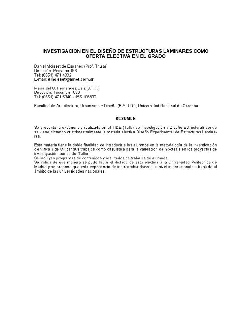 INVESTIGACION EN EL DISEÑO DE ESTRUCTURAS LAMINARES ...