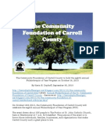 The Community Foundation of Carroll County to hold the eighth annual Philanthropist of Year Program on October 16, 2013