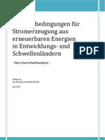 Stromerzeugung aus erneuerbaren Energien in Entwicklungs- und Schwellenländern