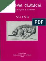 Instituto de Estudos Clássicos - As Línguas Clássicas I - Investigação e Ensino (1993)
