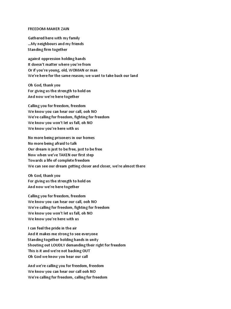 Freedom Lyrics by Maher Zain | Najib Razak | Malaysia
