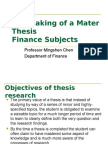 The Making of a Mater Thesis