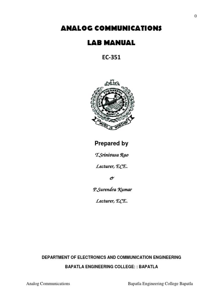 EC 351 AC Analog Communication lab manual | Amplifier | Frequency Modulation