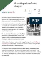 Spying - US Spy Establishment in Panic Mode Over Washington Post Expose