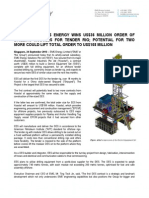 SGX-Catalist EMS Energy Wins US$36 Million Order Of Drilling Modules For Tender Rig; Potential For Two More Could Lift Total Order To US$108 Million