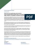 Cp - France Energie Eolienne - Reaction Au Projet de Loi de Simplification Administrative