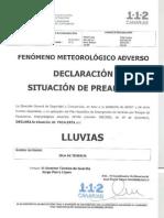 02-10-2013 Declaración PREALERTA FMA Lluvias TFE