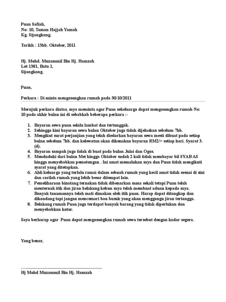 Contoh Surat Rasmi Notis Keluar Rumah - Rasmi U