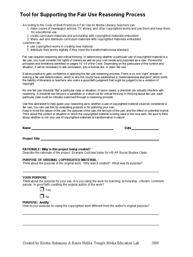 Tool For Reasoning Fair Use Fair Use Copyright