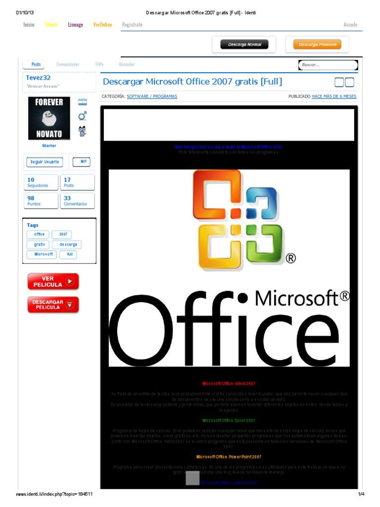 descargar office 2007 para xp full