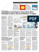Científicos peruanos usan desechos biológicos para descontaminar el agua