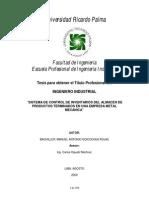 """---""""SISTEMA DE CONTROL DE INVENTARIOS DEL ALMACEN - URP"""