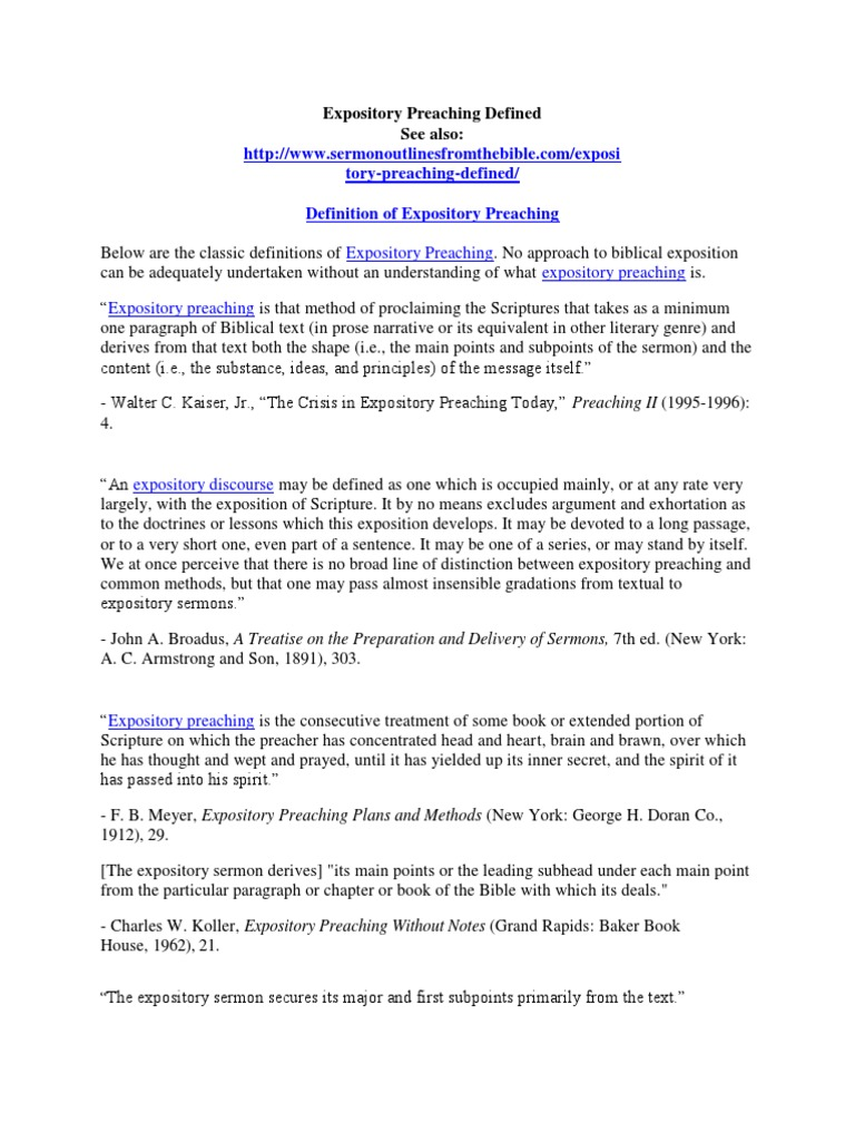expository sermon outlines | expository preaching | sermon