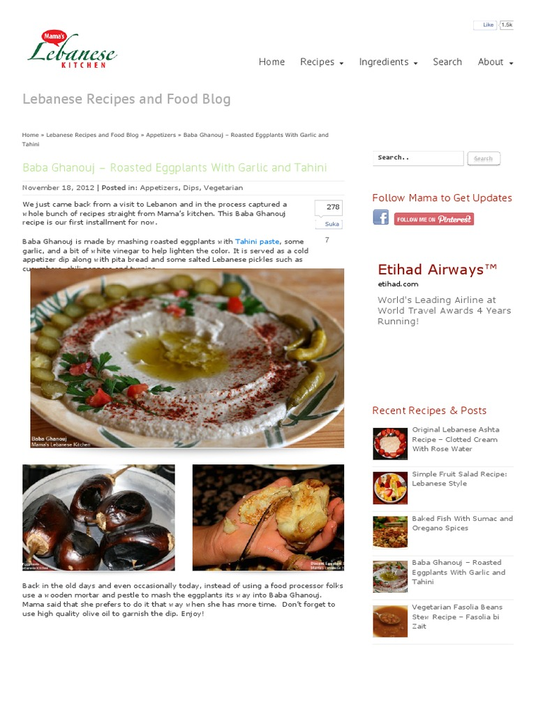Baba Ghanouj – Roasted Eggplants With Garlic and Tahini | Mama\'s ...