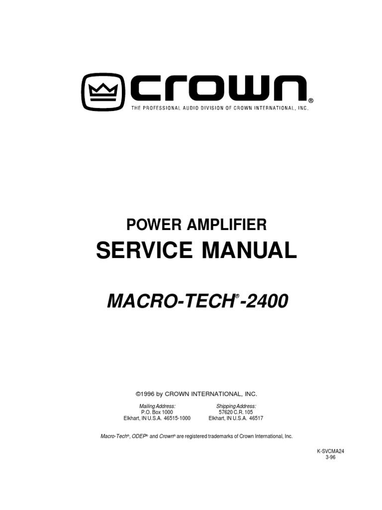Crown Ma2400 Service Manual Amplifier Operational Arduino Potentiometer Led Brightness And Fan Speed 8211 Tutorial 7