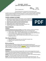 Dales ACCT 245 Fall 2012 Syllabus