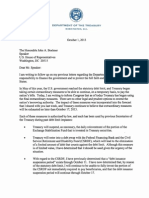 Treasury Letter to Congress_100113