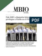 02-10-2013 Diario Matutino Cambio de Puebla - Pide RMV a Diputados Federales Privilegiar a Puebla en El PEF 2014