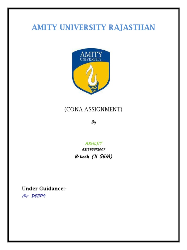 amity university rajasthan cover page