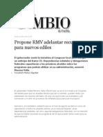 25-07-2013 Diario Matutino Cambio de Puebla - Propone RMV Adelantar Recursos Para Nuevos Ediles