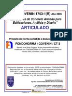 Covenin 1753-1-2005 Estructura de Concreto Armado en Edificaciones, Articulado