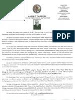 State Rep. Andre Thapedi Press Release