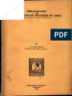 Bibliography of Indological Studies in 1953 - S Chaudhary