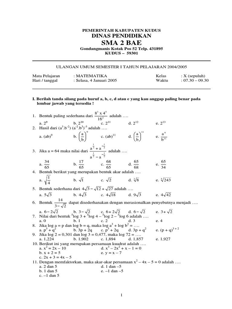 Soal Matematika Wajib Kelas 10 Semester 2 Dan Jawabannya Doc Kunci Dunia