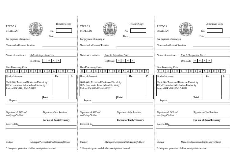 Treasury Challan Form Pdf