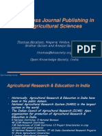 Open Access Journal Publishing in the Agricultural Sciences Presentation