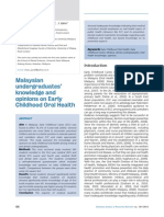 Malaysian undergraduates' knowledge and opinions on Early Childhood Oral Health