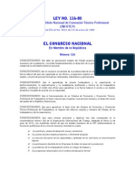 Ley No. 116 de 1980, que crea el Instituto Nacional de Formación Técnico-Profesional