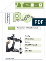 Prostho IV - Lec 2 - Assessment of the Edentulous Patient