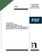 COVENIN 3548-99 Agregados.Propiedades geométricas. Azul de metileno