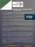 Bogotá Candidata  a ser Sede del Congreso CGLU-2016