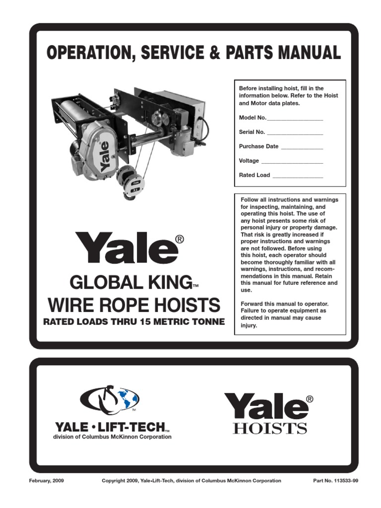 Manual Cable Yale Elevator Switch 3 Ton Hoist Wiring Diagram For Electric