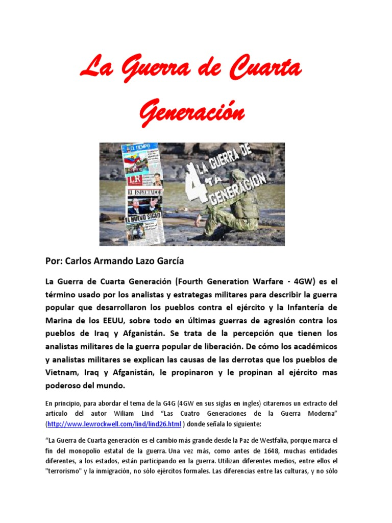 La Guerra de Cuarta Generación- Carlos Armando Lazo García | Estado ...