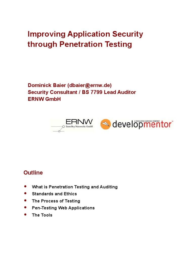 Penetration testing outline