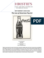 Christie's New York - Andy Warhol's Coca-Cola, The Icon Of American Pop Art - Pwc Evening Sale 12 November 2013