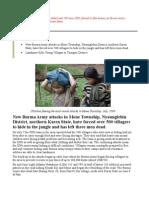 New Burma Army attacks in Mone Township, Nyaunglebin District, northern Karen State
