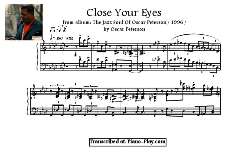 Transcription - Close Your Eyes by Oscar Peterson