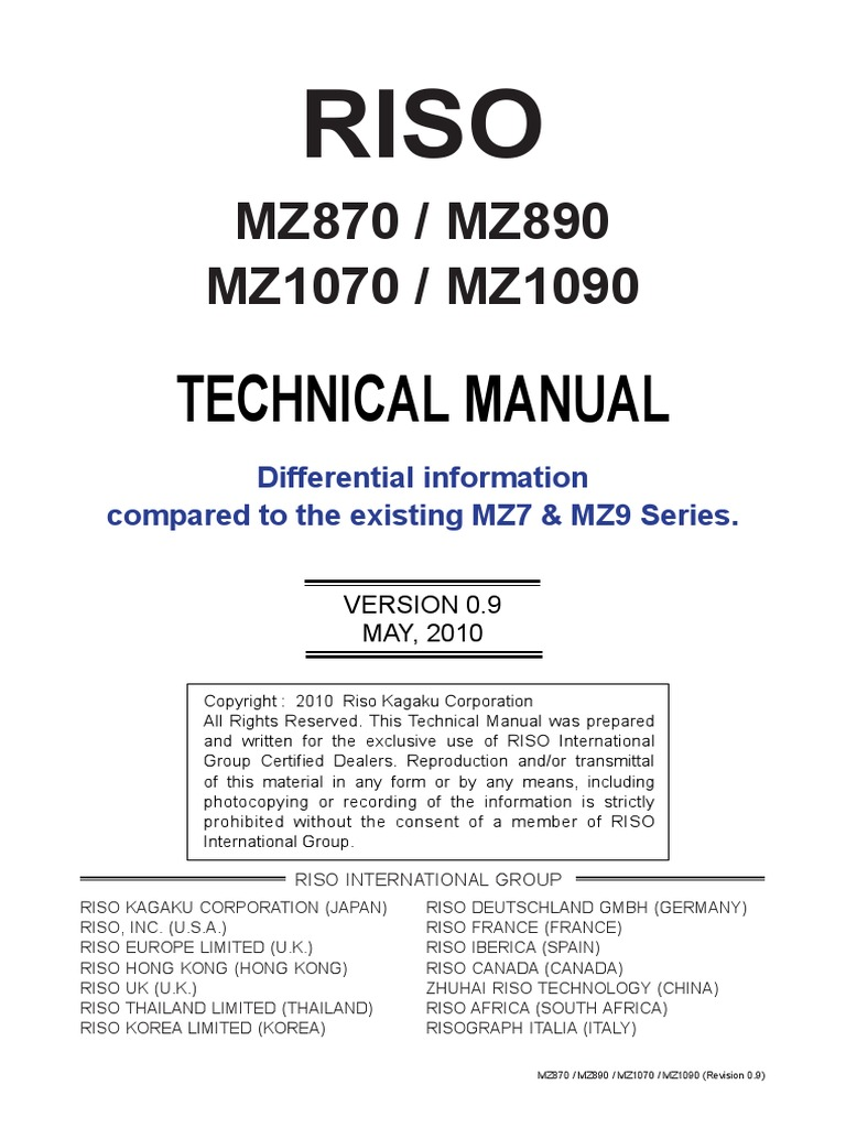 Riso+Mz870,+Mz890,+Mz1070,+Mz1090+Technical+Difference+ +Mz7,+Mz9 | Belt  (Mechanical) | Clutch