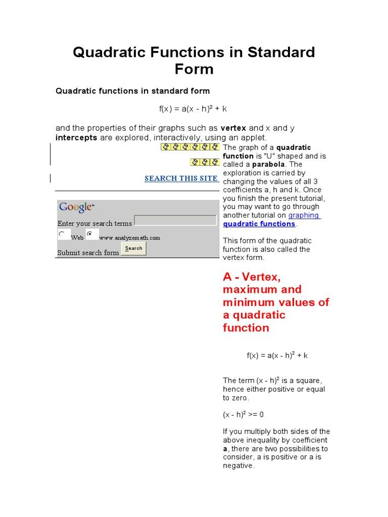 Quadratic Functions In Standard Form Quadratic Equation