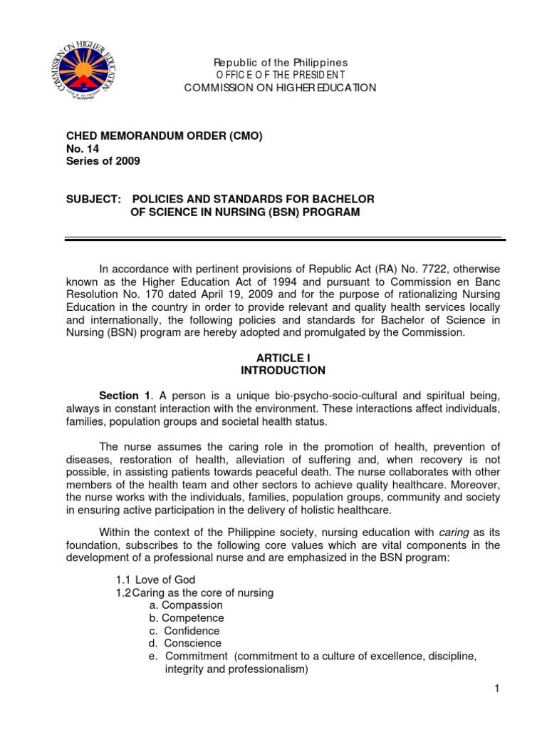 CHED MEMORANDUM ORDER (CMO) No  14 Series of 2009 - PinoyRN net