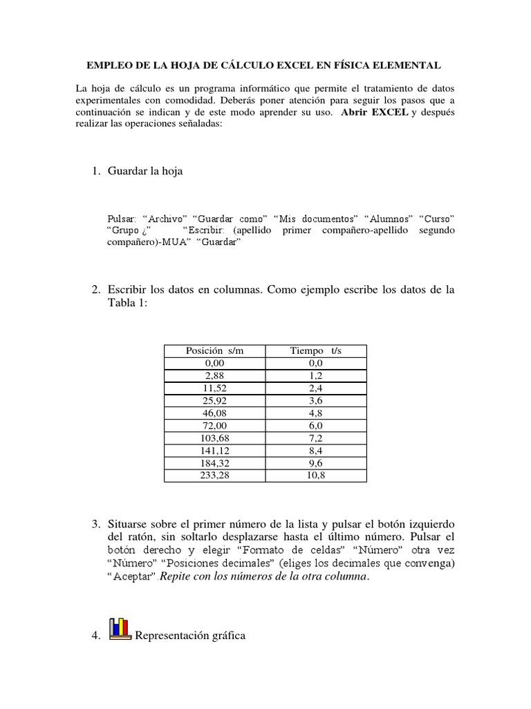 EMPLEO DE LA HOJA DE CÁLCULO EXCEL EN FÍSICA ELEMENTAL