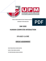 Human Computer Interaction Assignment - Snake Game