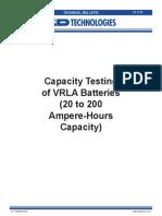 Capacity Testtin VLRA Batteries
